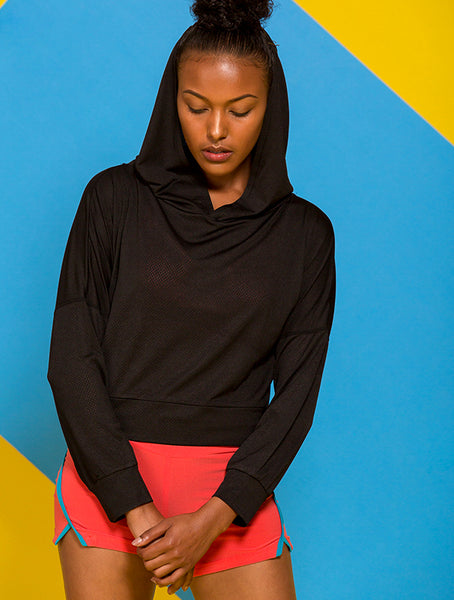 Cutout Back Crop Hoodie in Black