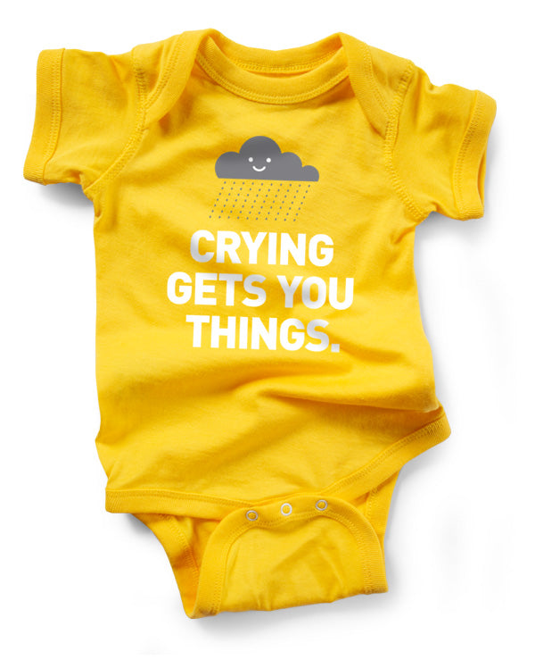 Crying Gets You Things Snapsuit™ (3-pack)