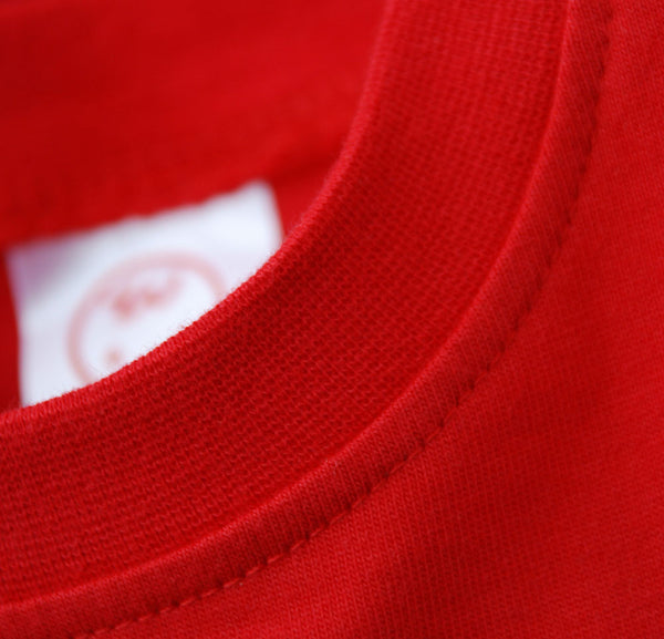 Red Onesie Woven Tag