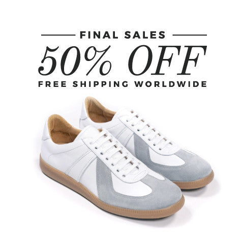 Epaulet Los Angeles Sport Trainer White Calfskin & Grey Suede - FINAL SALE - FREE SHIPPING WORLDWIDE
