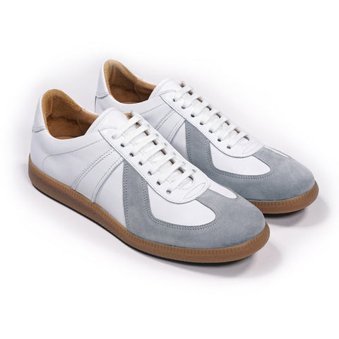 Epaulet Los Angeles Sport Trainer White Calfskin & Grey Suede - END OF SEASON SALE