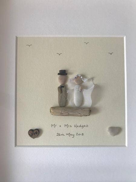Wedding Day Pebble Picture cream background