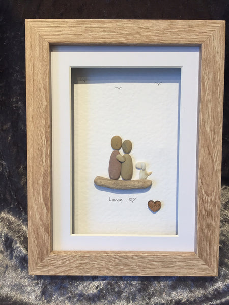 2 people with a dog pebble picture in a stand up frame comes in 2 col pebble pictures. Black Bedroom Furniture Sets. Home Design Ideas