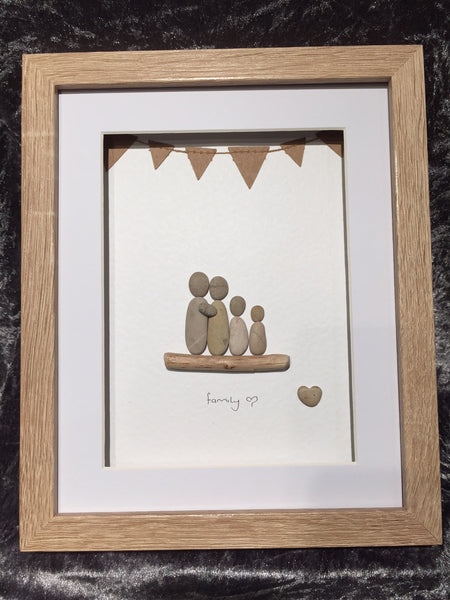 Family 4 pebble picture in a stand up frame with bunting
