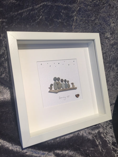 Family of 5 Pebble Picture with 2 dogs