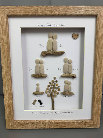 Family Tree pebble picture in a large stand up frame