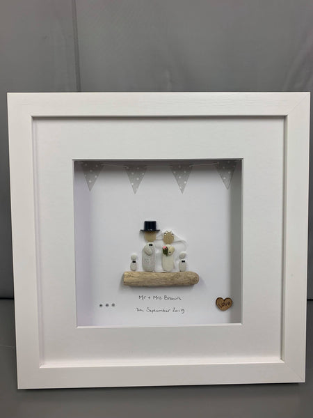 Wedding Day Pebble Picture With Children White background