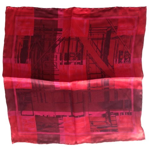Mens Silk Pocket Square- Red Scaffold plaid