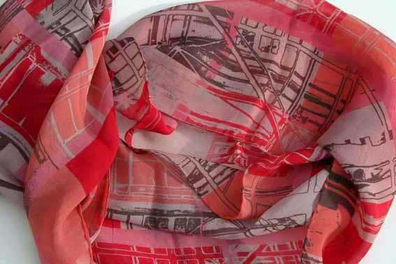Silk Georgette Scarf-Red Scaffolding Plaid