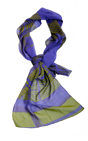 Silk Scarf -Norman Foster Berlin - blue and green