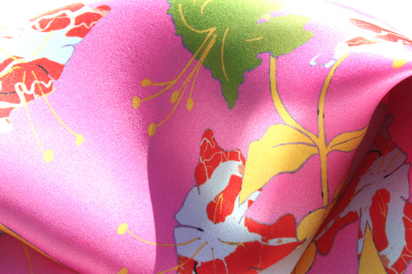 Silk square scarf pink Lilies