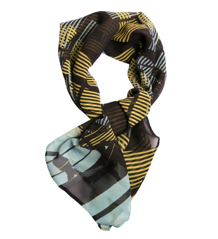 Silk scarf,  Silhouetted figures in geometric design