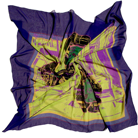 Silk georgette scarf-urban flower