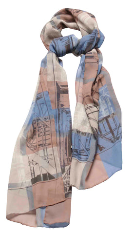 Silk scarf -Large Blue Scaffolding plaid