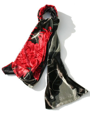 Ashbrittle Yew long velvet scarf, fronds