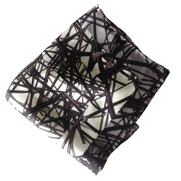 Silk Pocket Square-Monochrome geometric scaffolding print