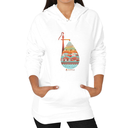 Hoodie (on woman) White - Ripple Design