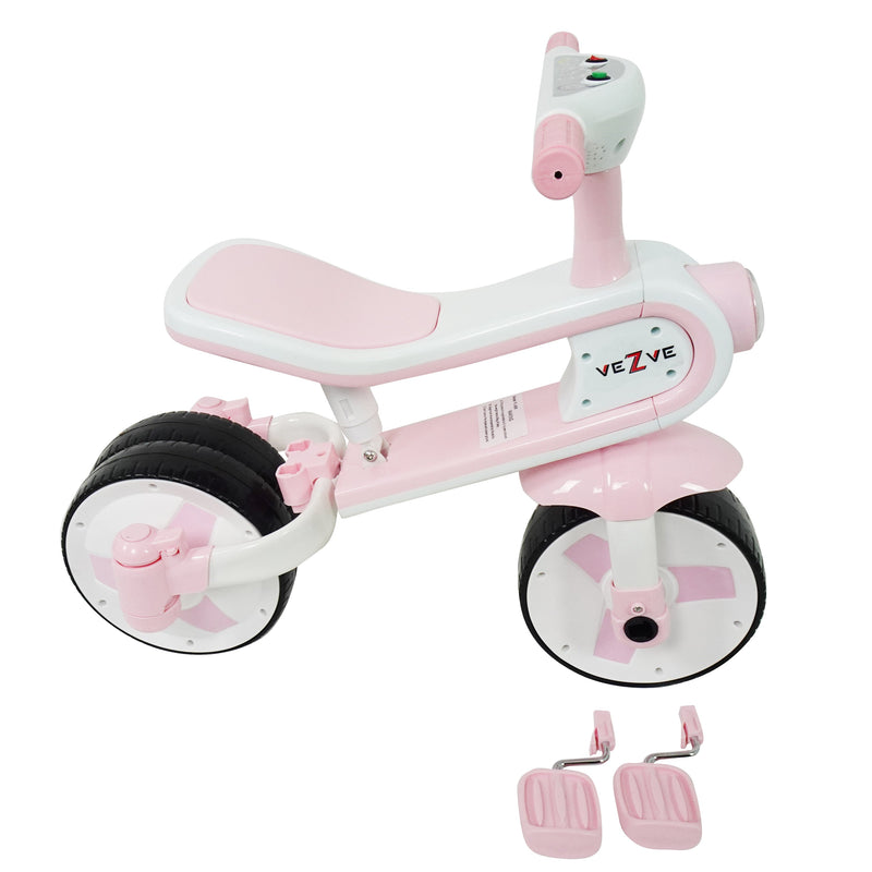 Kids Tricycle Convertible Balance Bike Scooter 24 Months Toddler To 6 Years Preschool Safe Ride-on 3 in 1 Toy