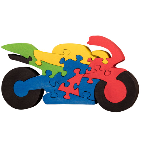 Wooden Jigsaw Puzzles for Toddlers Kids Baby 2 3 4 5 Year Preschool Motorbike