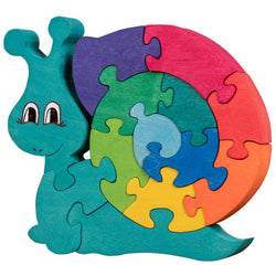 Wooden Jigsaw Puzzles for Toddlers Kids Baby 2 3 4 5 Year Preschool Toys Snail