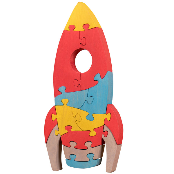 Wooden Jigsaw Puzzles for Toddlers Kids Baby 2 3 4 5 Year Preschool Toys Rocket