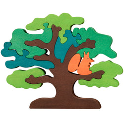 Wooden Jigsaw Puzzles for Toddlers Kids Baby 3 4 5 Year Preschool Squirrel Tree