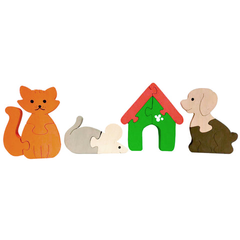 Wooden Jigsaw Puzzles for Toddlers Kids Baby 3 4 5 Year Preschool Cat Mouse Dog