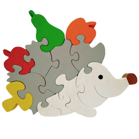 Wooden Jigsaw Puzzles for Toddlers Kids Baby 2 3 4 5 Year Preschool Hedgehog