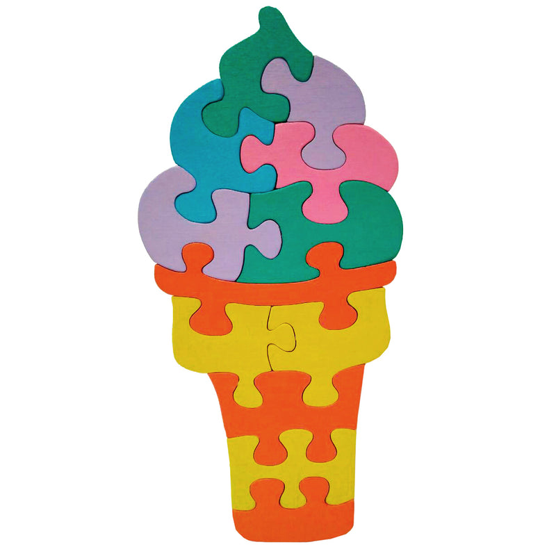 Wooden Jigsaw Puzzles for Toddlers Kids Baby 2 3 4 5 Year Preschool Icecream