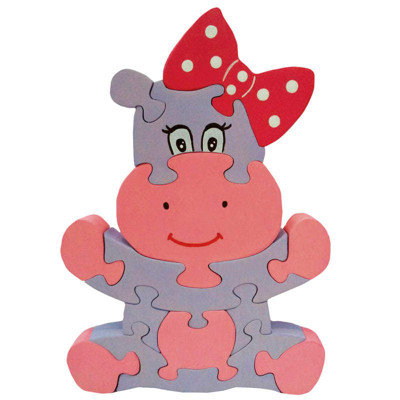 Wooden Jigsaw Puzzles for Toddlers Kids Baby 2 3 4 5 Year Olds Preschool Toys Hippo