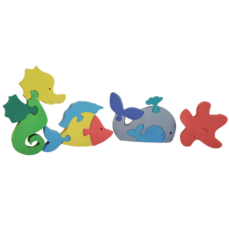 Wooden Jigsaw Puzzles for Toddlers Kids Baby 2 3 4 5 Year Preschool Sea Animals