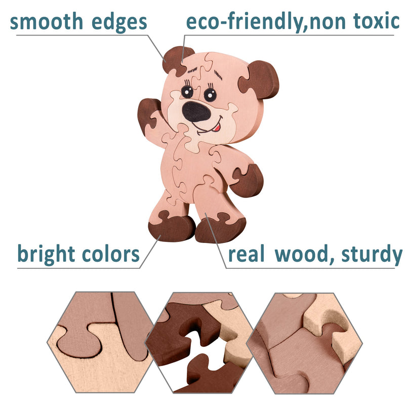 Wooden Jigsaw Puzzles for Toddlers Kids Baby 2 3 4 5 Year Preschool Toys Bear