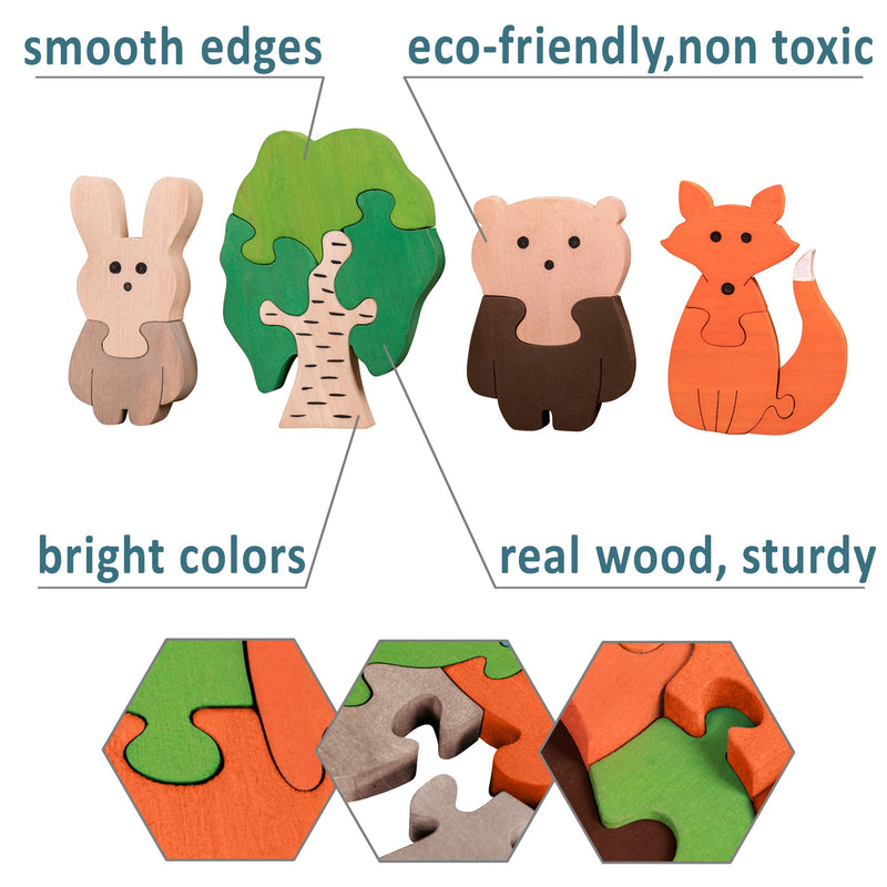 Wooden Jigsaw Puzzles for Toddlers Kids Baby 3 4 5 Year Preschool Forest Family