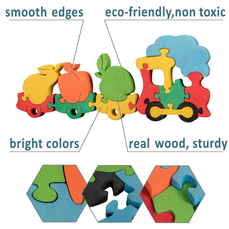 Wooden Jigsaw Puzzles for Toddlers Kids Baby 2 3 4 5 Year Preschool Fruit Train
