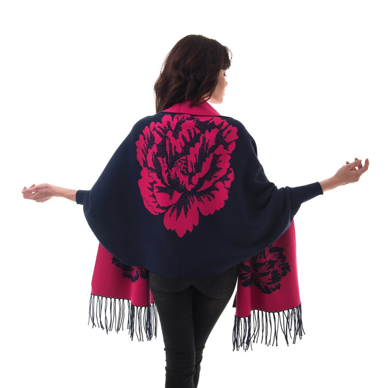 Women's Knitted Shawl Cardigan Wrap with Sleeves and Tassels Universal Fit palant flower