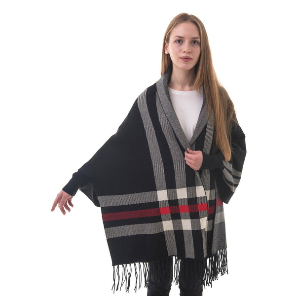 Women's Knitted Shawl Cardigan Wrap with Sleeves and Tassels Universal Fit palant plaid