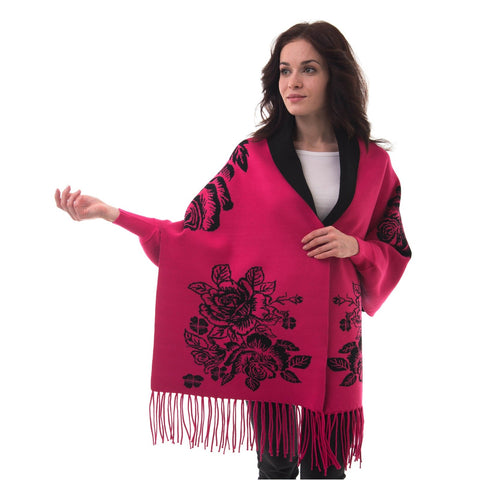 Women's Knitted Shawl Cardigan Wrap with Sleeves and Tassels Universal Fit palant rose