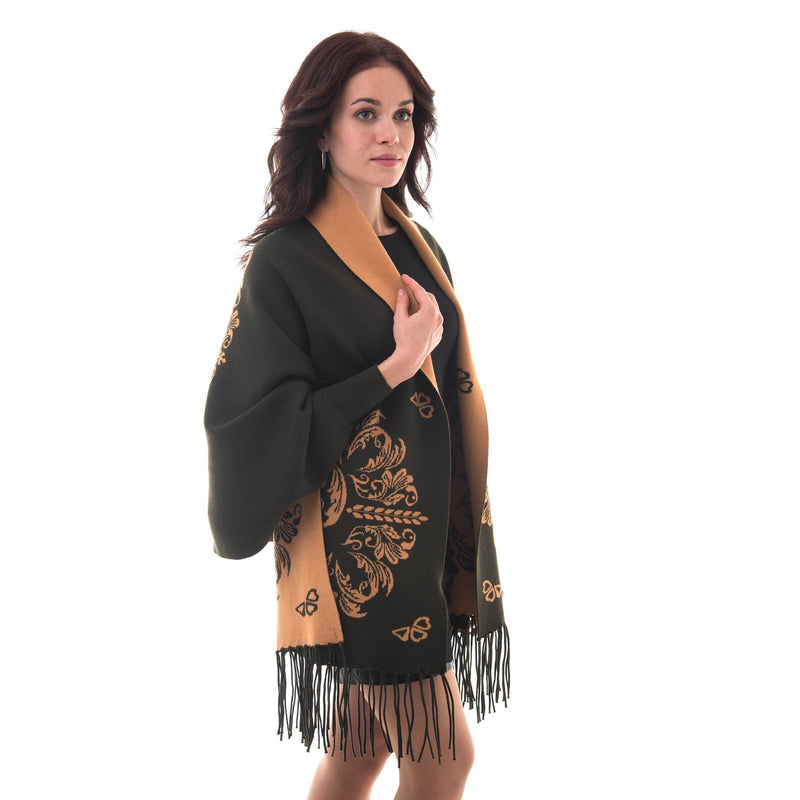 Women's Knitted Shawl Cardigan Wrap with Sleeves and Tassels Universal Fit palant round