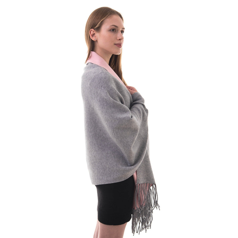 Women's Knitted Shawl Cardigan Wrap with Sleeves and Tassels Universal Fit palant color