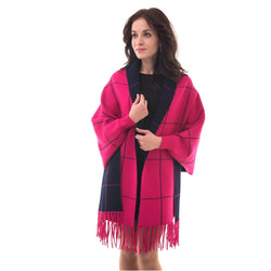 Women's Knitted Shawl Cardigan Wrap with Sleeves and Tassels Universal Fit palant plaid2