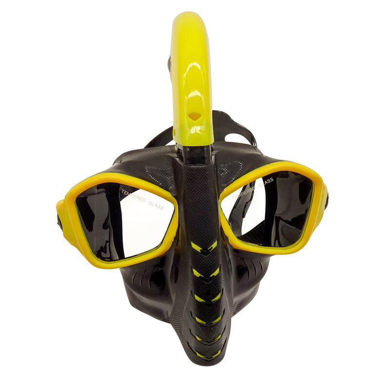 Snorkel Mask Goggles Silicone Swim Glasses Scuba Free Diving Spearfishing Watertight Anti-Fog Advanced Breathing System Strap Cover Impact Resistance for Adult