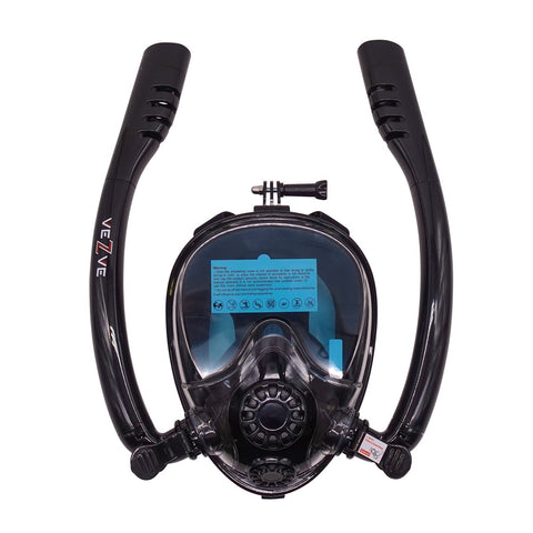 Snorkel Full Face 180 Degrees Diving Mask Black Panoramic View Anti-Fogging Anti-Leak Safe Two Tubes Breathing System GoPro Mount Free Breathing For Adults Or Teenagers