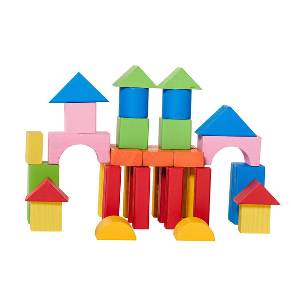 Eliiti Wooden Building Blocks Set Developmental Toy for Toddlers Kids 3 to 6 Years Old 40 Pcs