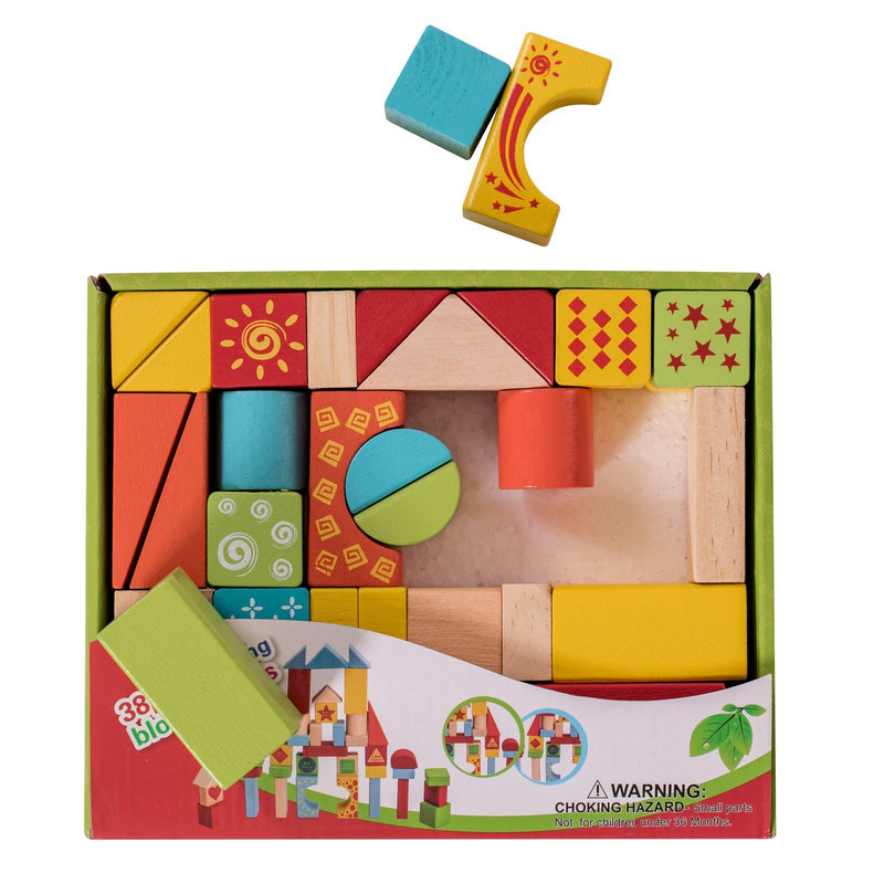 Eliiti Wooden Building Blocks Set Developmental Toy for Toddlers Kids 3 to 6 Years Old 38 Pcs