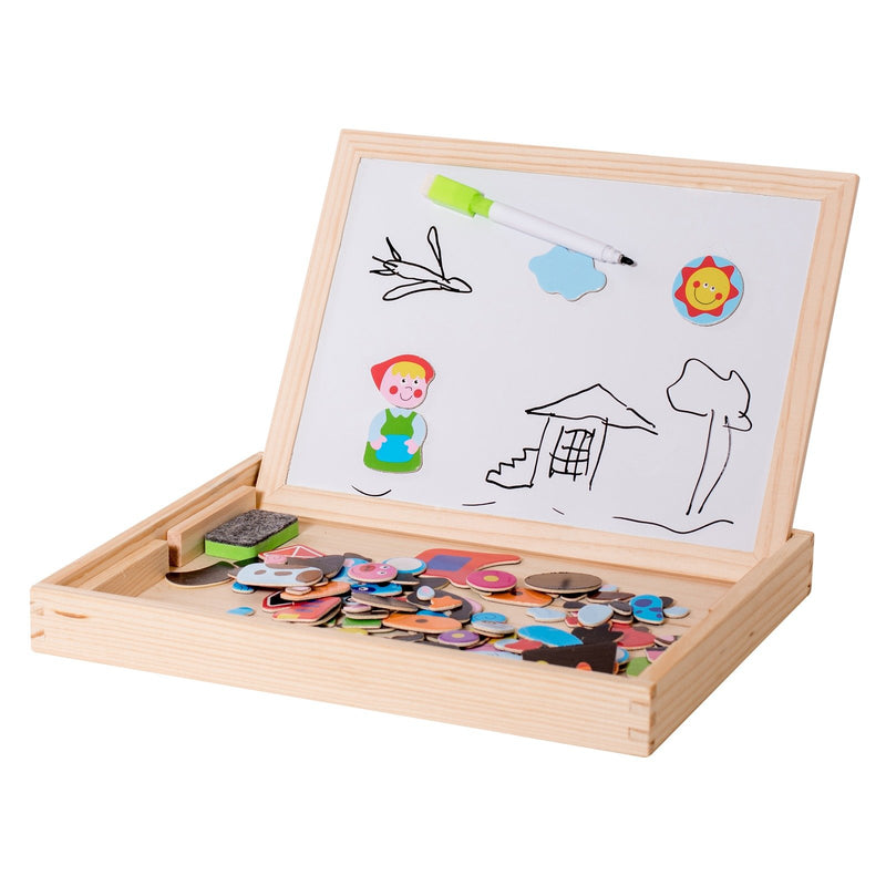 Eliiti Wooden Magnetic Easel Puzzle Double Side Dry Erase Board Educational Toy for Kids 3 to 6 Years Old Farm Animals