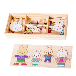 Eliiti Wooden Peg Dress Up Puzzle for Girls Toddlers Kids 3 to 6 Years Old Rabbits Family