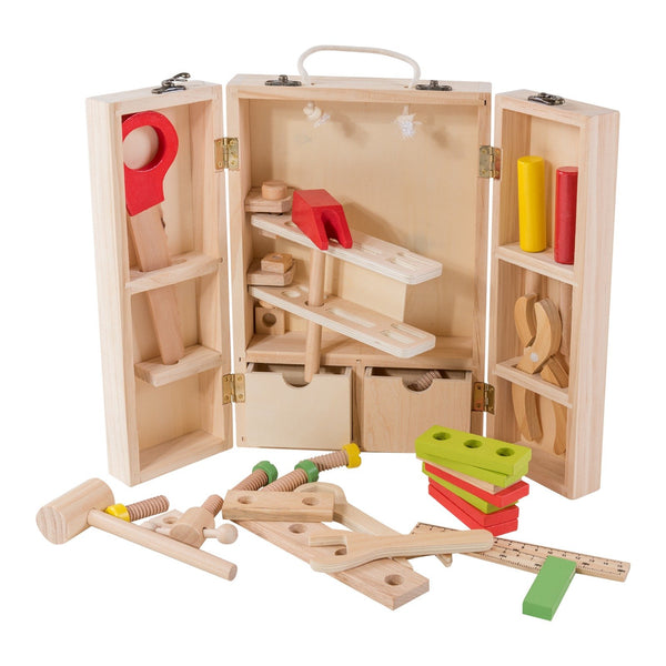 Eliiti Wooden Construction Building Set Tool Kit Carpenter Toy for Boys Kids 4-6 Years Old 30 Pcs