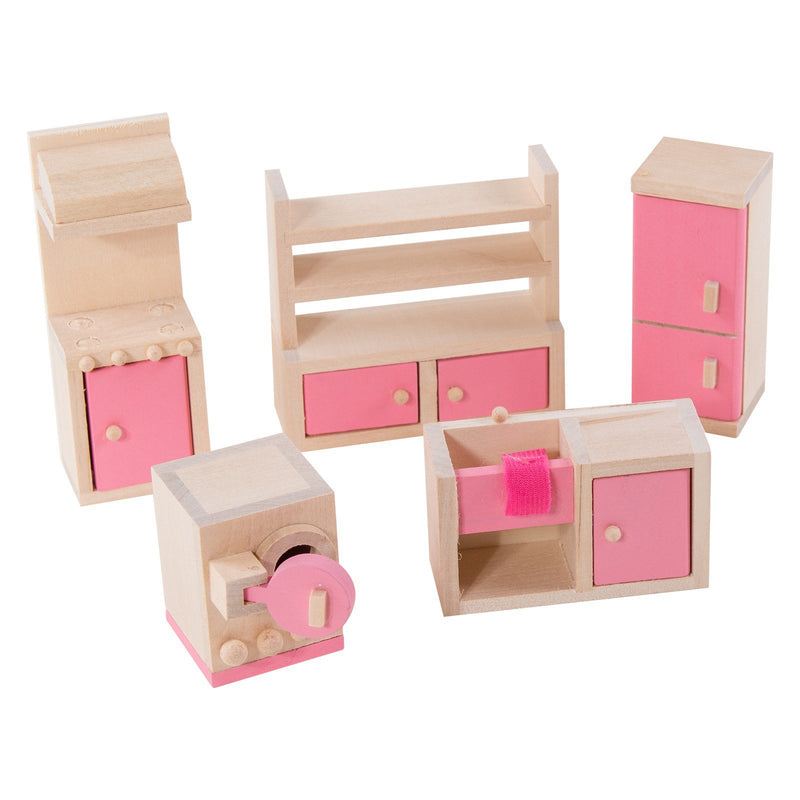 Eliiti Miniature Wooden Furniture Dollhouse Pretend Play Toys for Toddlers Girls Kids 3-7 Years Old Kitchen 5 Pcs