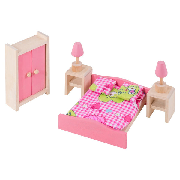 Eliiti Miniature Wooden Furniture Dollhouse Pretend Play Toys for Toddlers Girls Kids 3-7 Years Old Bedroom 9 Pcs
