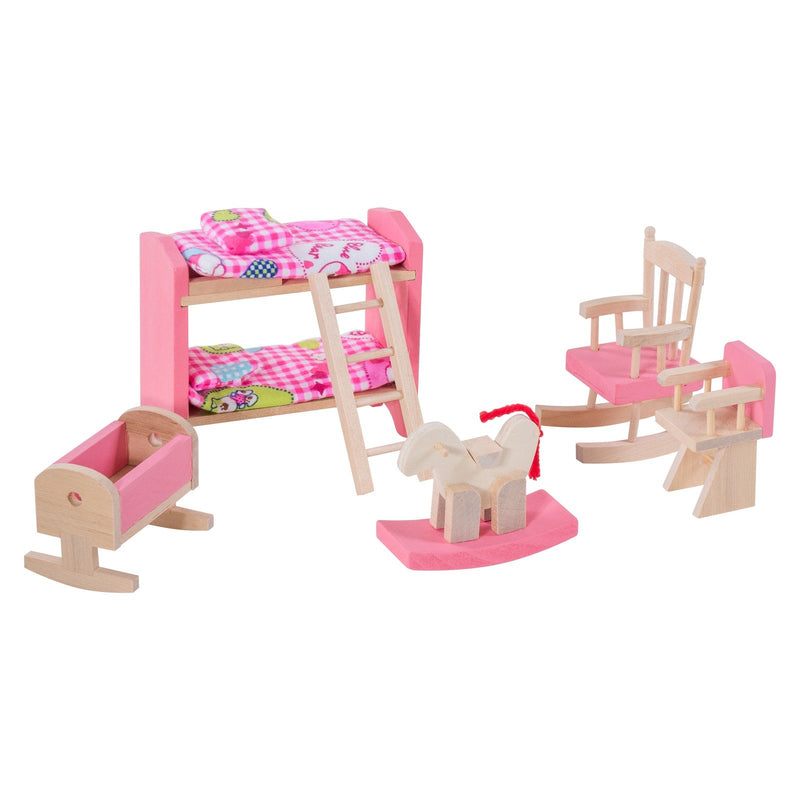 Eliiti Miniature Wooden Furniture Dollhouse Pretend Play Toys for Toddlers Girls Kids 3-7 Years Old Nursery 10 Pcs